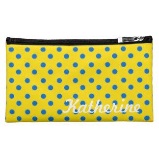 Bright Blue Polka Dots on School Days Yellow Makeup Bag