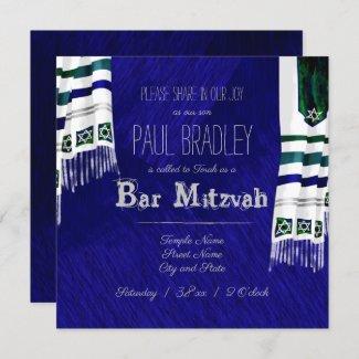 Bright Blue Prayer Shawl Bar Mitzvah Invitation