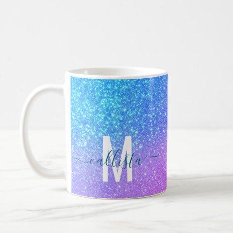 Bright Blue Purple Sparkly Glitter Ombre Monogram Coffee Mug