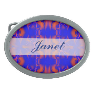 Bright Blue Red Abstract Belt Buckle