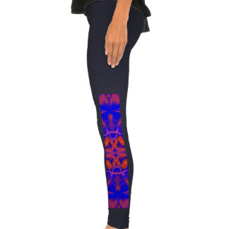 Bright Blue Red Abstract Leggings