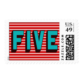 Bright Blue & Red Funky Five Birthday Postage