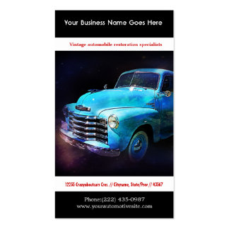 Bright Blue Restored Vintage Auto Photo Double-Sided Standard Business Cards (Pack Of 100)