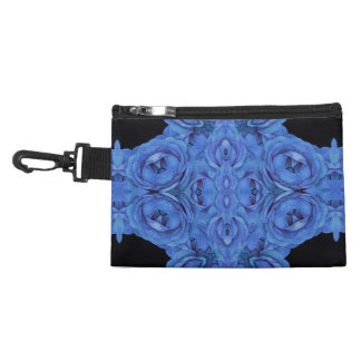 Bright Blue Roses Black Accessory Bag