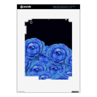Bright Blue Roses Black Background iPad 3 Skin
