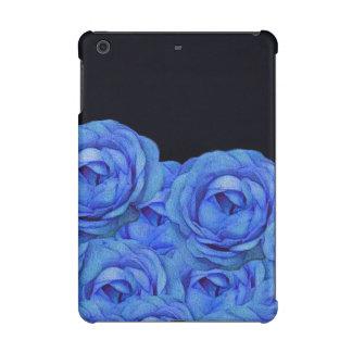 Bright Blue Roses Black Background iPad Mini Cover