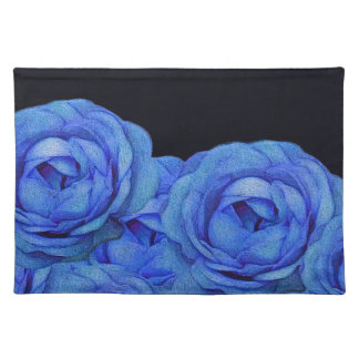 Bright Blue Roses Black Background Placemat