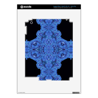 Bright Blue Roses Black Decal For iPad 3