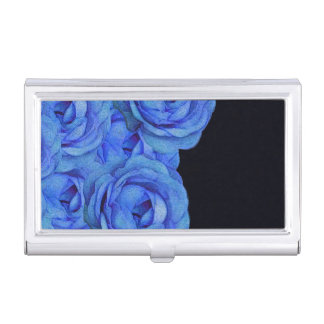 Bright Blue Roses Business Card Holder