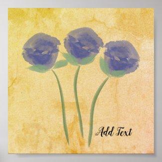 Bright Blue Roses Watercolor Print