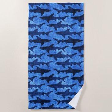 Beach Themed Bright Blue School of Sharks Spring Break Beach Beach Towel