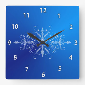 Bright Blue Scrollwork Wall Clock
