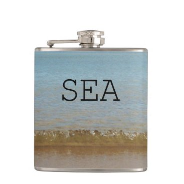 Beach Themed Bright Blue Sea and a gentle wave. Hip Flask