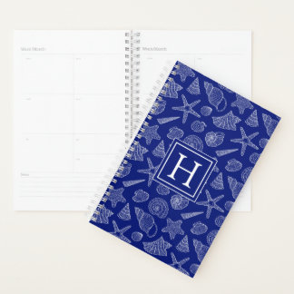 Bright Blue Shell Pattern | Add Your Initial Planner