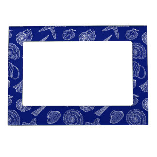 Bright Blue Shell Pattern Magnetic Picture Frame