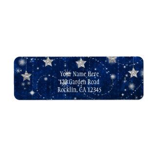 Bright Blue & Silver Starry Celestial Invitation Label