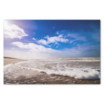Beach Themed Bright Blue Sky & Shoreline Beach Tissue Paper