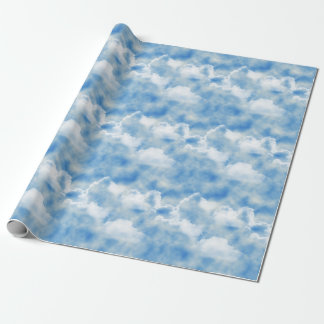 Bright Blue Sky with Fluffy White Clouds Wrapping Paper