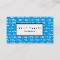 Bright blue Spanish language typography Business Card