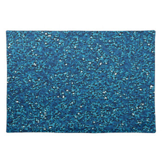 Bright blue sparkly glitter cloth placemat