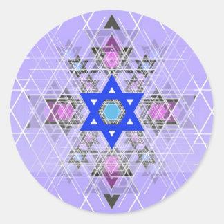 Bright Blue Star. Classic Round Sticker