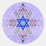 Bright Blue Star. Round Stickers