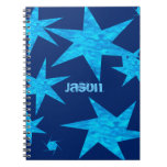 Bright Blue Stars Customizable Spiral Note Books