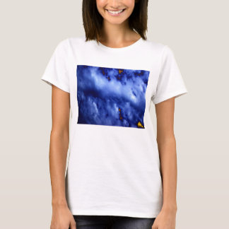 Bright Blue Storm Clouds and Gold Sky2 by KLM T-Shirt