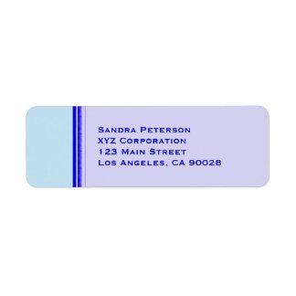 Bright blue stripe on pastel professional business label