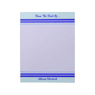 Bright blue stripe on pastel professional business note pad