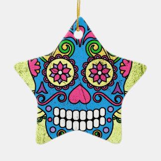 Bright Blue Sugar Skull Day of the Dead! Ceramic Ornament