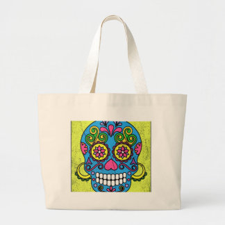 Bright Blue Sugar Skull Day of the Dead! Large Tote Bag