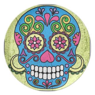Bright Blue Sugar Skull Day of the Dead! Melamine Plate