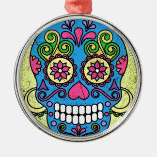 Bright Blue Sugar Skull Day of the Dead! Metal Ornament