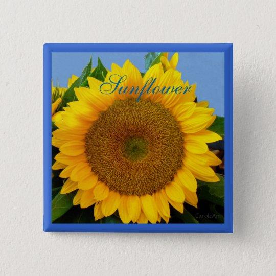 Bright Blue Sunflower Pinback Button