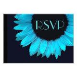 Bright Blue Sunflower Wedding RSVP Response Small Personalized Invite