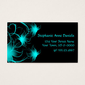 Bright Blue Swirly Flowers on Black Business Card