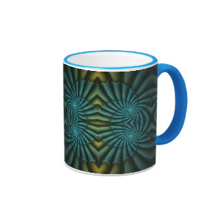 Bright Blue Tango Bright Blue Abstract Spiral Ringer Mug