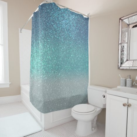 Bright Blue Teal Sparkly Glitter Ombre Gradient Shower Curtain