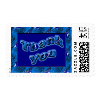 Bright Blue Thank You Postage Stamps