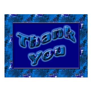 Bright Blue Thank You Postcard