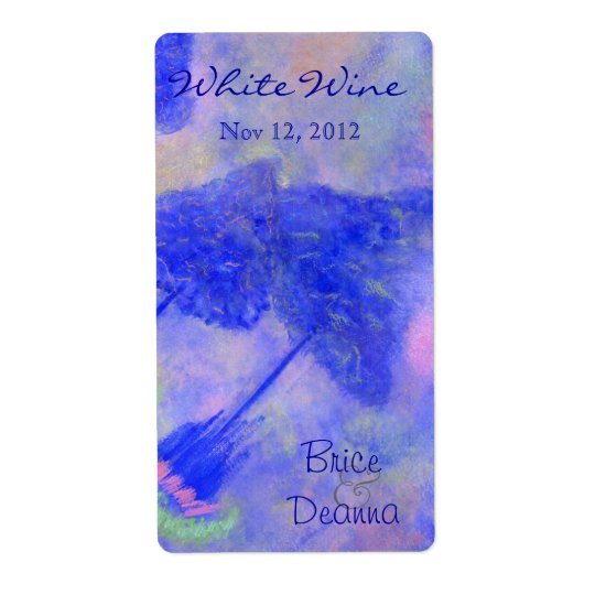 Bright Blue Trees Wedding Wine Label