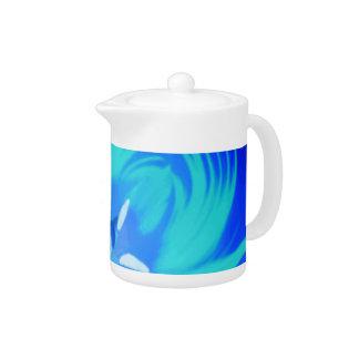 Bright Blue Tulip Teapot