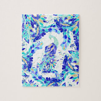 Bright blue turquoise gold elegant peacock pattern puzzle