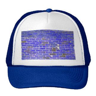 Bright Blue Vintage Brick Wall Texture Hats