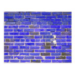 Bright Blue Vintage Brick Wall Texture Post Card