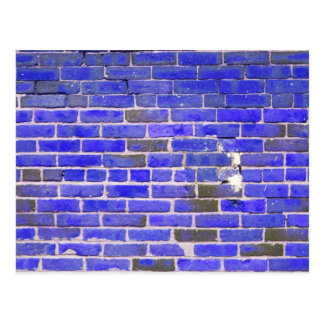 Bright Blue Vintage Brick Wall Texture Postcard