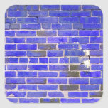 Bright Blue Vintage Brick Wall Texture Square Stickers