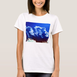 Bright Blue White and Maroon Clouds and Glowing Tr T-Shirt