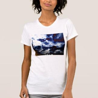 Bright Blue&White Cirrus radiatus and Brown Storm T-Shirt